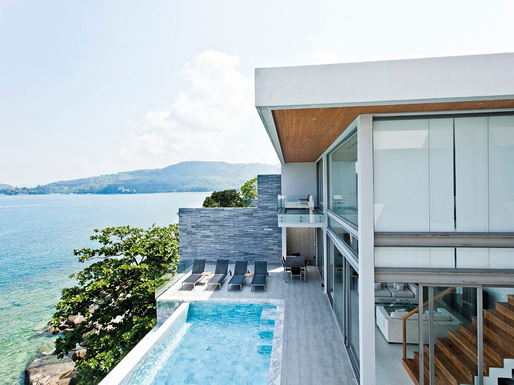 An oceanfront villa with private beach in Phuket accommodates 12